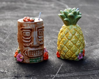 Whimsical Tiki Pineapple Manhattan Beach Salt and Pepper Shakers