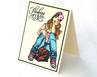 Thinking of you card, college girl, lost in thought blank card, dreamer, hello
