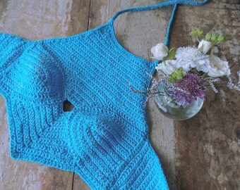 Halter top with natural stone - Crochet Top