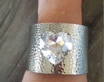 Silver Tone Cuff braclete with Swarovski heart