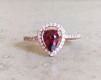 Rose Gold Garnet Engagement Ring- Halo Pear Shape Garnet Ring- Red Garnet Promise Ring- Alternative Engagement Ring-February Birthstone Ring