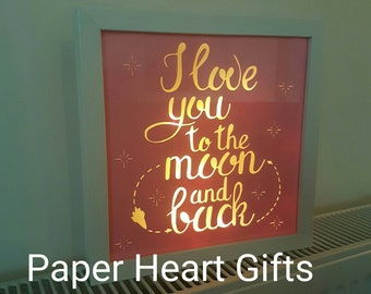 Light Up Box Frame, I love you to the moon and back