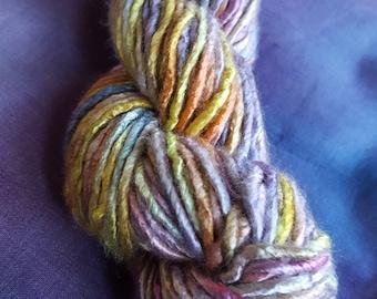 Banana yarn. 100g, 88 yards of hand painted,vegan friendly,art yarn.