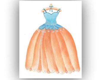 Baby girl nursery, Girls room decor, Nursery Wall Art, Fairy Princess, Nursery decor, Fairy Dress, Kids Decor, Nursery prints, Aqua, Peach