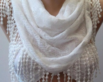 Ivory Triangle Scarf Christmas Gift Holiday Gift Scarf with Lace Edge Winter Women Fashion Accessories Christmas Gift For Her