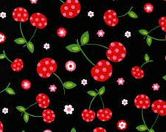 Picnic Party Cherries in Black  1 Yard Cut