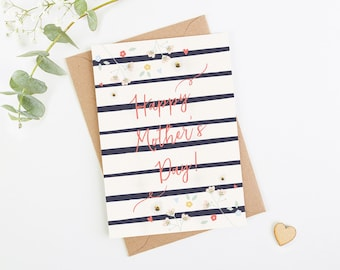 Happy Mother's Day Card Floral Stripe