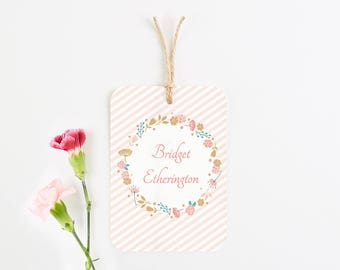 Country floral luggage tag place card