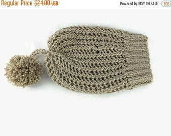 Gift For Mom Women's Crochet Hat, Slouchy Hat Beanie, Beige color Beanie with pompom- Hand knit beanie hat , Gift For Her