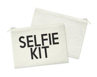 Selfie Kit // Heavy Cotton Canvas Cosmetic Bag // Makeup Bag // Canvas Bag with Zipper