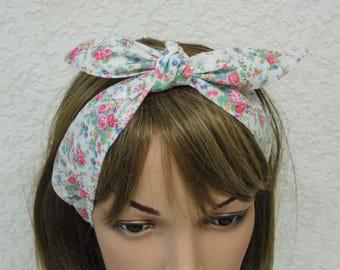 Headband, hair scarf, self tie head scarf, handmade rockabilly headscarf, tie up hedband, 50s style hair wrap, polycotton