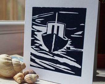 Hand-printed linocut boat card