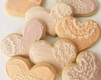 Valentines Day / Heart Doilies /  lace Sugar Cookies with Buttercream Frosting