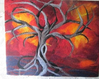 abstract tree picture, textile wall art, felt painting,