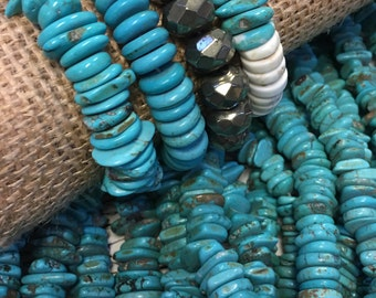 """Genuine Turquoise nugget Beads, turquoise chips, turquoise nuggets, 10mm - 14mm chip beads, 15.5"""" strand, asymmetrical, 120 beads!"""