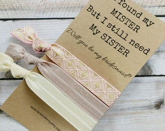 Bridesmaid Gift - I found my MISTER 3 pcs set Hair Ties - Neutral Scheme- Bridesmaid Proposal Gift- Wedding/Bridesmaid/Gift/Special Events