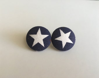 Star Fabric Button Earrings