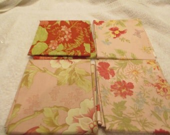 Fat Quarter Bundle with 4 FQs from Moda in pink, red, green florals B9