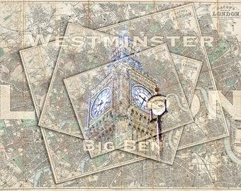 London England  Big Ben Travel Westminster Map Collage Art British Home Decor Photo Print