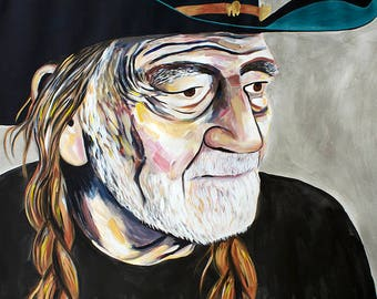 9x12, 18x24 or 40x50 Fine Art Giclee Print of Original Willie Nelson Painting by Natalie Jo Wright Portrait Art