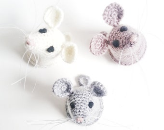 Mouse Head - Crochet Faux Taxidermy - Wall Art Crochet Mouse Head - Animal Lovers - Home Décor - Nursery Room - Sold as 1 piece or set of 3