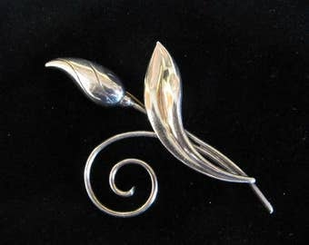 Antique Sterling Silver pin leaf and bud G K Co.