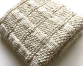 Cosy Lattice Hand Knitted Baby Blanket ~ Oatmeal