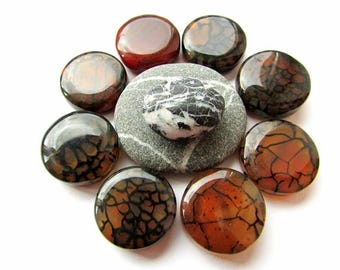 Brown Black Dragon Vein Agate Beads 20mm Flat Round Agate Beads Stone Beads Jewelry Supplies (6)