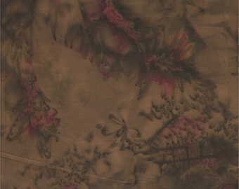 Batik By Mirah, Winter Garden, Brown & Magenta Batik Print