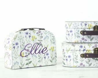 Personalised Floral Suitcase Storage Box Trio - Display Decor Craft Decoration Prop P110