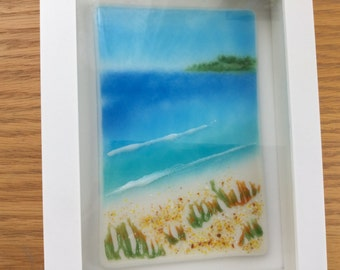 Fused Glass Seascape, Beach Frit Glass Painting, Seaside Framed Wall Art