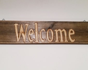 Welcome Sign, Carved Sign, Rustic Welcome Sign, Handcrafted Welcome Sign, Carved Wood Sign, Weathered Sign