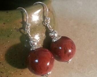Memorial Bead Earrings - Custom Keepsake Stoneware Pottery Pet Cremains Jewelry - Round - Drop Earrings