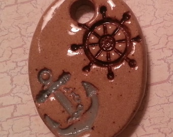 Pottery Pet Cremains Motif Pendant, Necklace, Key Chain or Mini Ornament - Custom Memorial Pet Cremation Keepsake - WHEEL AND ANCHOR