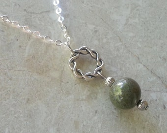Memorial Bead Pendant or Necklace - Custom Keepsake Stoneware Pottery Pet Cremains Jewelry - LOVE ME KNOTS Drop Pendant