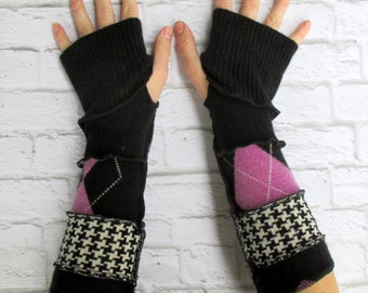 Cool Gloves - Upcycled Clothing - Arm Sleeves - Purple Argyle - Arthritis Gloves - Comfort - Gypsy Clothing - Best Sellers - Armwarmer