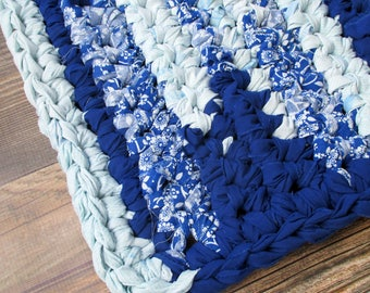 Home Decor - Blue Rag Rug - Thick Bath Mat - Rectangular Throw Rug - Machine Washable - Kitchen - Indoor Outdoor - Home - Accent - Area Rugs