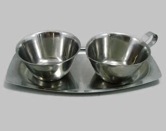 MCM Stainless Steel Sugar & Creamer on Tray, Mid Century Metal Cream and Sugar Bowl