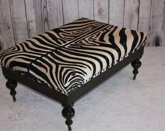 Rustic Kona Brown Zebra Print Cowhide Ottoman