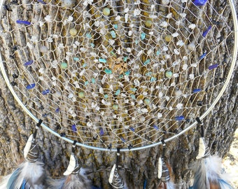 Wolf Moon Hand Woven Bohemian Tribal 9 Inch Dream Catcher in Silver by The Emerald Lotus