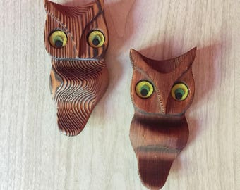 Pair of Vintage Wood Owl Wall Hangings