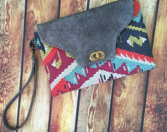 SHIPS TODAY Water Buffalo Leather & Fabric Wristlet w/ Detachable Wrist Strap