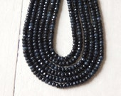 4mm Darkest Blue agate beads, faceted agate beads in very dark blue, strand, small dyed blue agate beads, 4mm flattened round faceted beads