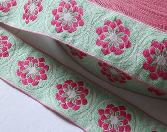 Floral jacquard trim in light green and pink - TWO yards, 42mm jacquard trim, pale green and pink floral trim, wide floral trim - 2 yds.
