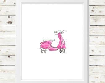 vintage vespa watercolor print - vespa scooter art print - pink vespa art - vintage pink vespa scooter - vespa art print