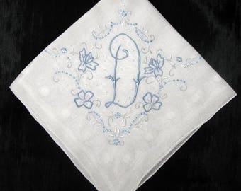 Monogrammed G, D, H, M or F Wedding Handkerchief, Blue Bridal Gift