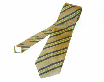 1970s PIERRE CARDIN Silk Tie Mens Vintage Striped Taupe 100% Imported Silk Necktie from Pierre Cardin Paris, New York
