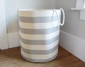 "Extra Large Hamper, Fabric Storage Laundry Basket, Coastal Grey Stripe Fabric Organizer, Toy or Nursery Basket, Storage Bin - 20"" Tall"