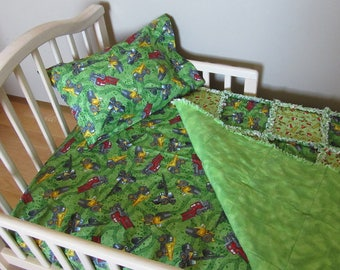 Tonka Construction Fabric Toddler Bed Crib Bedding Set Baby Boy Large Rag Quilt Truck Cones Signs
