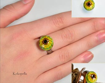 Ringtop Lampwork, sunflowers, artist, glass ring, interchangeable ring, change, design by Kokopella